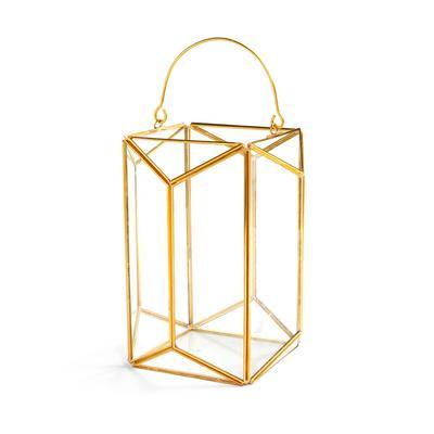 Großer, goldfarbener Laternen-Kerzenhalter