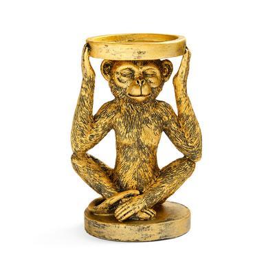 Suporte vela macaco dourado