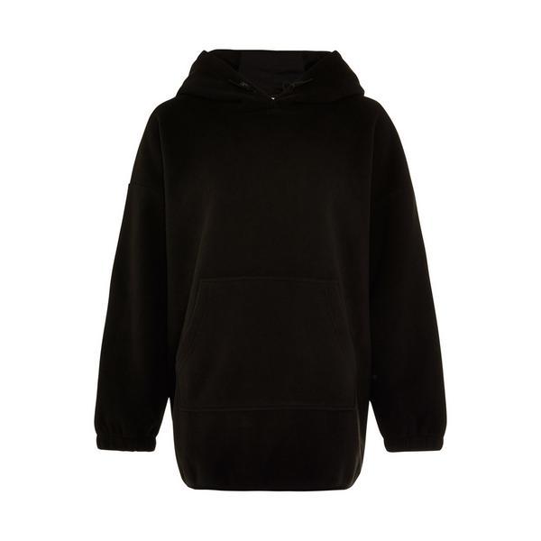 Schwarzer, langer Great Outdoors Kapuzenpullover aus Fleece