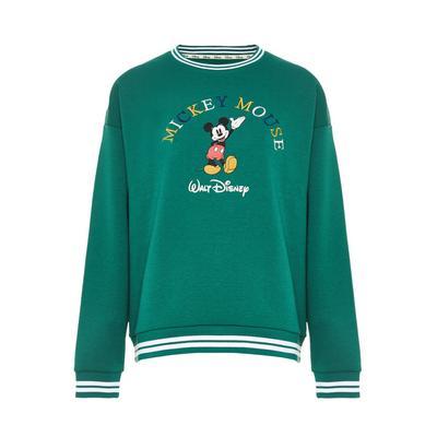 Sweat-shirt vert brodé Disney Mickey Mouse