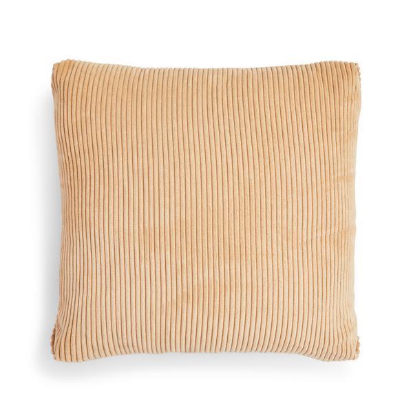 Beige Corduroy Zip Cushion