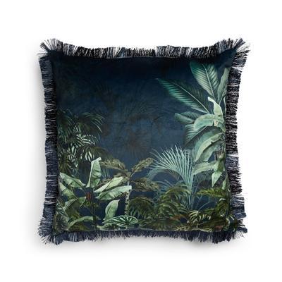 Navy Velvet Tropical Print Trimmed Cushion Cover