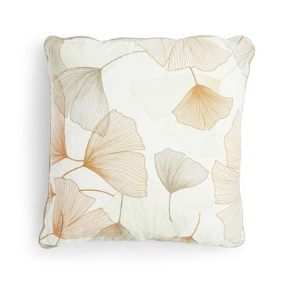 Ivory Ginkgo Leaf Print Cushion