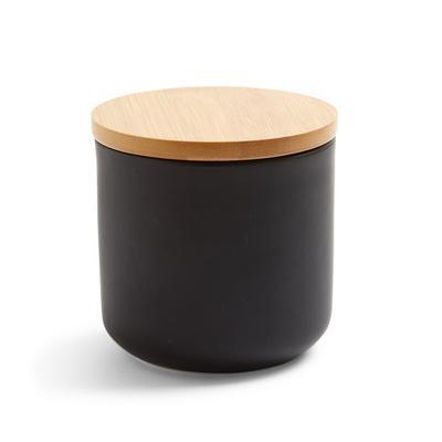 Medium Black Ceramic Storage Jar