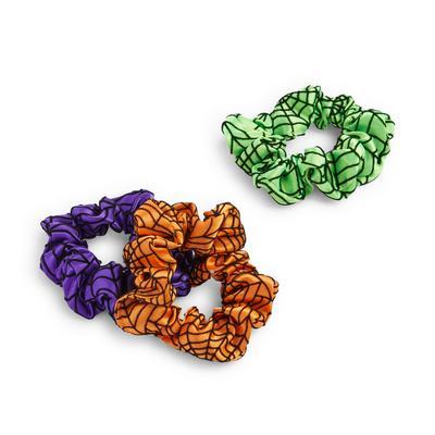 Lot de 3 mini chouchous de couleurs variées à imprimé toile d'araignée pour Halloween
