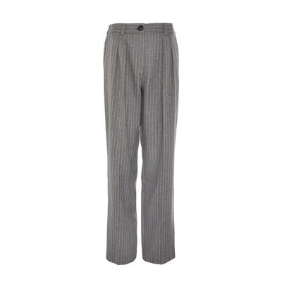 Grey Pinstripe Dad Trousers