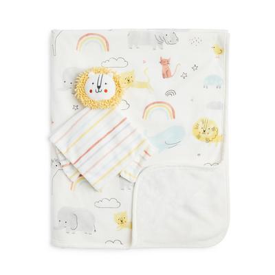 Conjunto 2 peças presente manta bebé