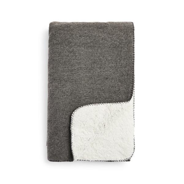 Small Grey Ribbed Knit Sherpa Throw