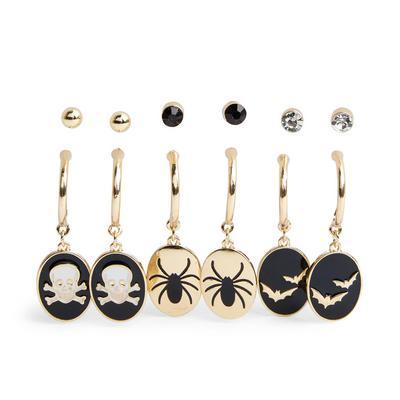 6-Pack Goldtone Halloween Stud And Hoop Earrings