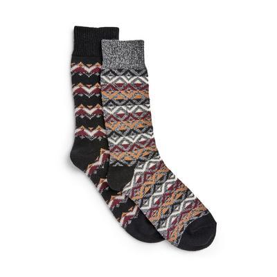 Fairisle Pattern Stronghold Socks 2 Pack
