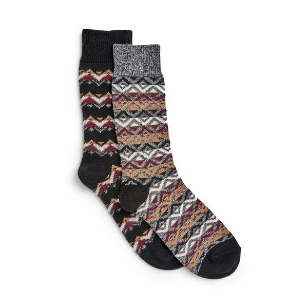 Pack de 2 pares de calcetines con estampado de grecas alpinas Stronghold
