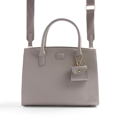 Grey Structured Tote Bag