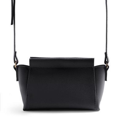 Black Bonded Casual Crossbody Bag