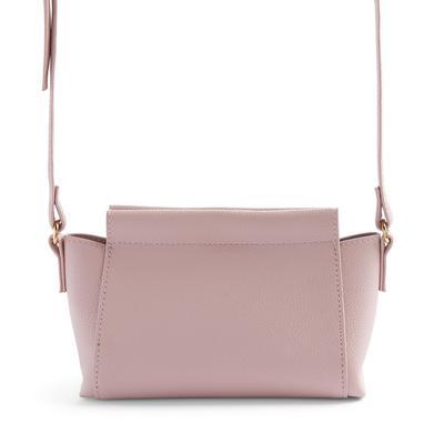 Pink Bonded Casual Crossbody Bag