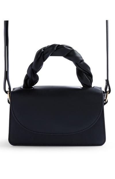 Black Faux PU Leather Twist Top Handle Crossbody Bag