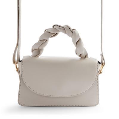 Ivory Faux PU Leather Twist Top Handle Crossbody Bag