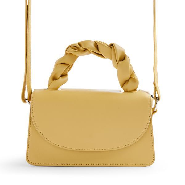 Yellow Faux PU Leather Twist Top Handle Crossbody Bag