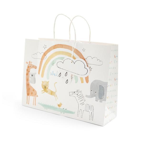 Baby White Animal Print Gift Bag