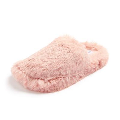 Pink Fluffy Faux Fur Mule Slippers