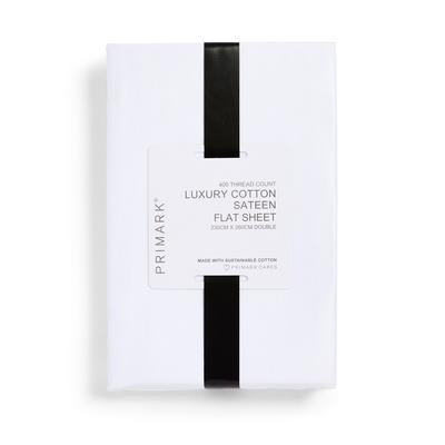 Drap plat double blanc en satin de coton de luxe à 400 fils