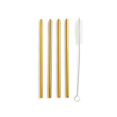 Goldtone Short Metal Straws 4 Pack