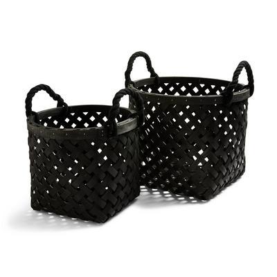 Black Woven Wooden Baskets 2 Pack