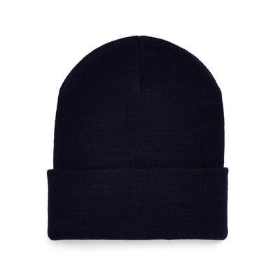 Navy Deep Cuff Beanie Hat