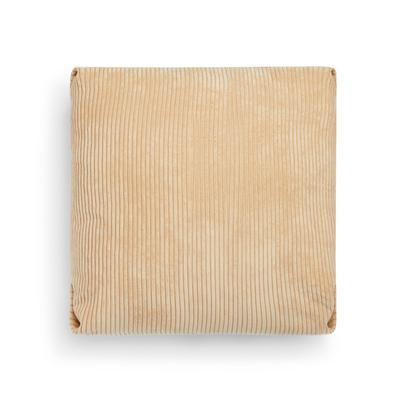 Beigefarbener, plissierter Kissenbezug aus Samt