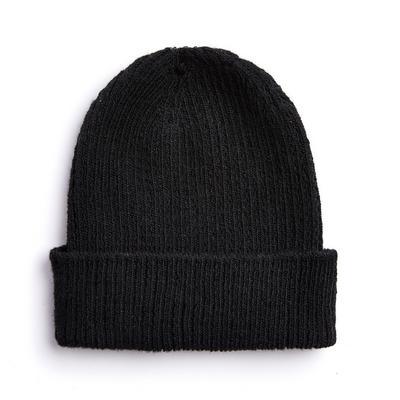 Black Deep Cuff Beanie Hat