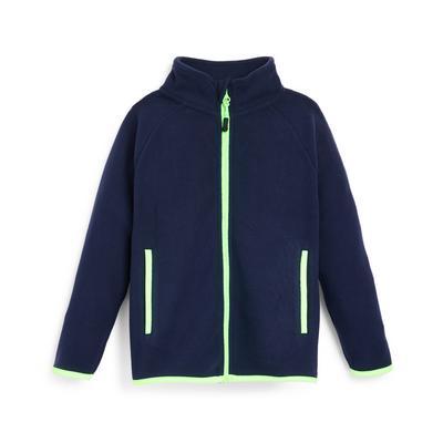 Younger Boy Navy Contrast Zip Fleece Jacket