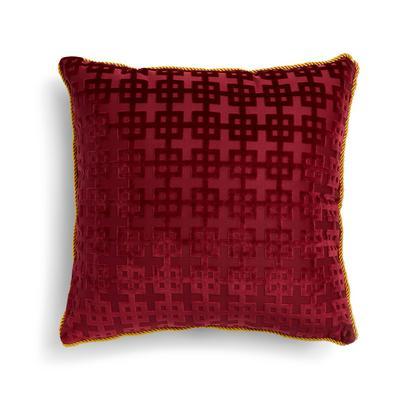 Roter Kissenbezug aus Jacquard-Chenille mit goldfarbenem Besatz