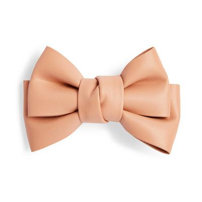 Camel Faux PU Leather Hair Bow