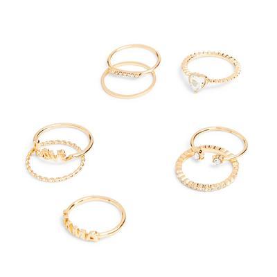 Goldtone Mama Rings 8 Pack