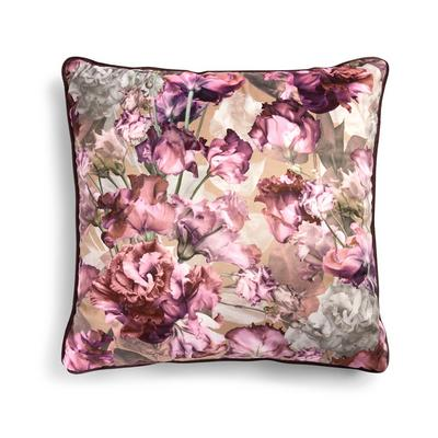 Rosafarbenes Samtkissen mit Paspelierung und Blumenmuster, 50 cm