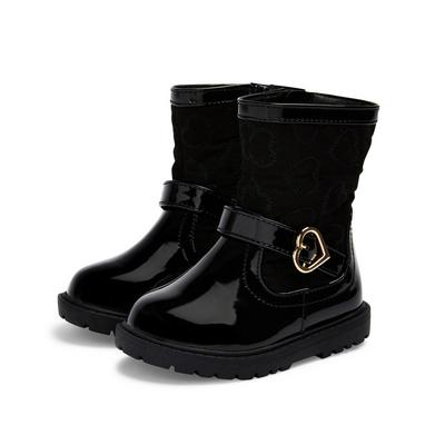 Younger Girl Black Patent Heart Detail Boots