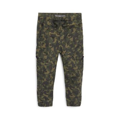 Younger Boy Khaki Camouflage Dino Print Cargo Trousers