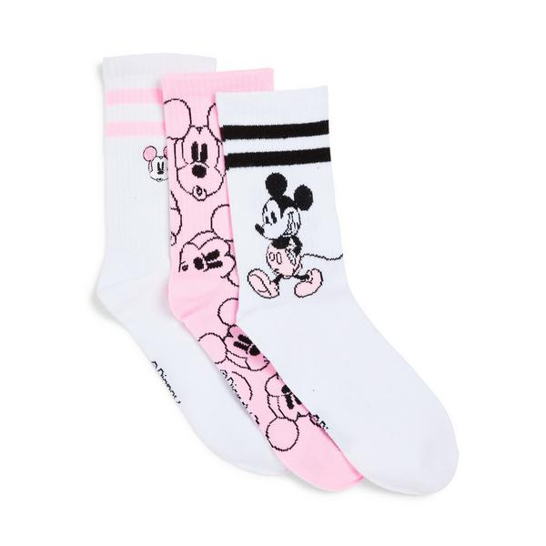 3-Pack Pink Disney Mickey Mouse Crew Socks