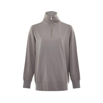 Gray Half Zip Pullover Sweatshirt