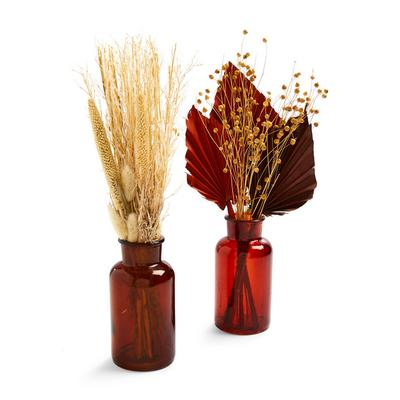 Small Dried Autumnal Bunches In Amber Vase