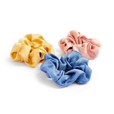Lot de 3 chouchous en satin de couleurs variées
