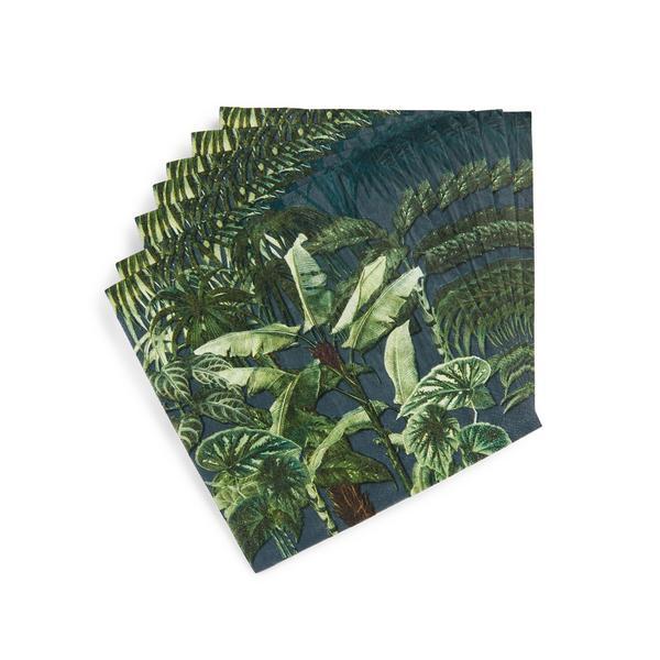 Serviettes en papier à imprimé palmier tropical