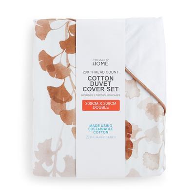 Parure de lit double blanche en coton passepoilé à imprimé feuilles
