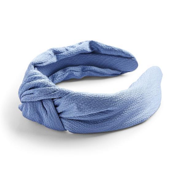 Serre-tête bleu en satin à nœud