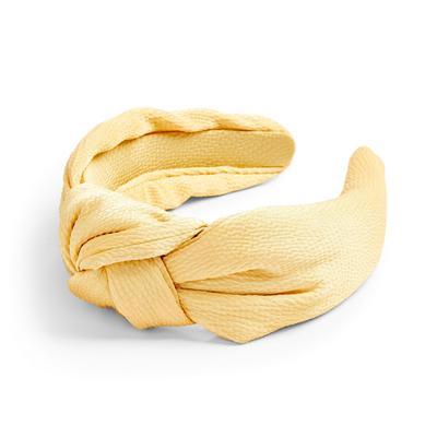 Cerchietto in raso giallo con nodo