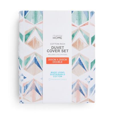Pastel Nostalgic Geometric Double Duvet Cover Set