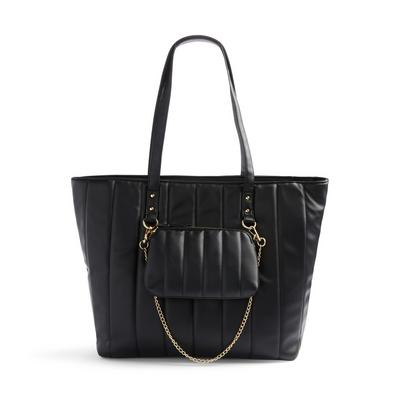 Black Faux PU Leather Linear Quilted Shopper Bag