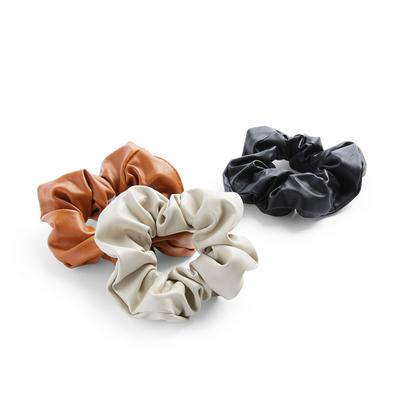 3-Pack Mixed Faux Leather Scrunchies