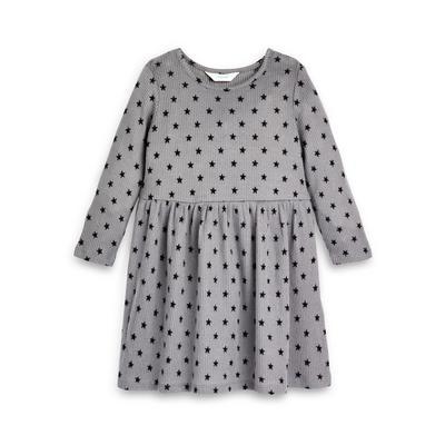 Graues Jerseykleid mit Sternen-Print (kleine Mädchen)