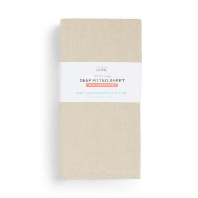 Natural Linen Cotton Double Deep Fitted Sheet