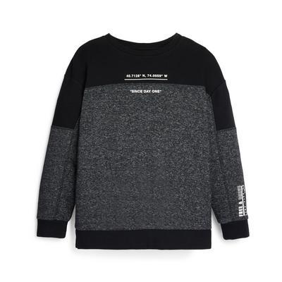 Older Boy Charoal Color Block Crew Neck Sweatshirt